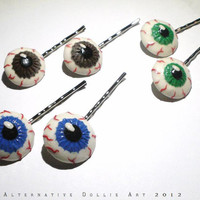 Eyeball Bobby-Pins - PAIR in color of your choice