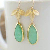 Bezel Set Chrysoprase Earrings Chrysoprase Earrings by Jewels2Luv