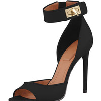 Givenchy Shark-Lock Ankle Wrap Sandal, Black