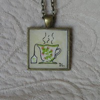 Tea Time Original Miniature Watercolor Art Pendant Necklace | Luulla