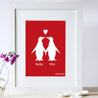 Personalised Penguins In Love Print