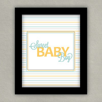 Nursery Art Print - Sweet Baby Boy -  Blue Yellow Gray, 8x10