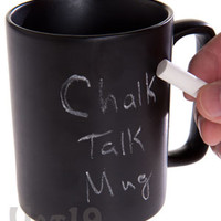 Chalkboard Coffee Mug: Write and erase on this 12 ounce coffee mug