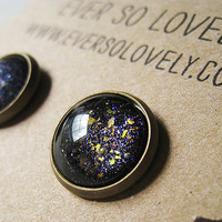 meteor shower black and silver starry night handmade earrings by EverSoLovely