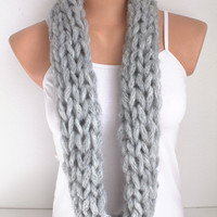 ON SALE Grey Infinity Scarf Loop Scarf Chunky Neckwarmer