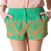 Flying Tomato Women's Tribal Embroidery Shorts