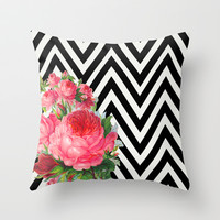 FLORAL BLACK AND WHITE CHEVRON Throw Pillow by Allyson Johnson