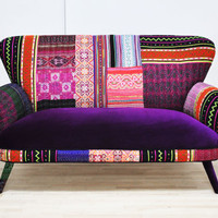 Patchwork sofa - deep purple