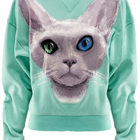 ROMWE | Cat Print Mint-green Sweatshirt, The Latest Street Fashion