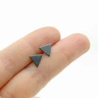 Black Oxidized Sterling Silver Triangle Earrings - Minimalist Geometric Stud Earrings - Minimal Modern Jewellery - Simple Everyday Jewelry