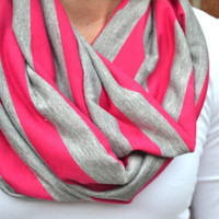 Infinity Jersey Knit Scarf - Pink and Gray Stripes