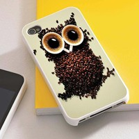 funny coffee owl  iphone case black/white for iphone 4/4s & iphone 5 case