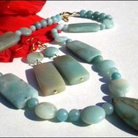Green Amazonite Gemstone Impression Jasper Necklace Earring Set