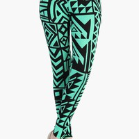 High Waist Green Aztec Leggings