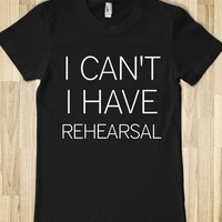 Supermarket: I Can't I Have Rehearsal T-Shirt from Glamfoxx Shirts