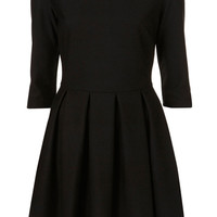ROMWE | A-line Pleated Slim Black Autum Dress, The Latest Street Fashion