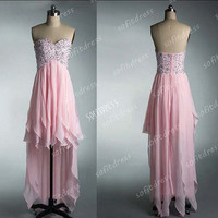 Hi-Lo prom dresses, pink prom dress, sweet heart prom dress, chiffon prom dress, evening dress, BM0238