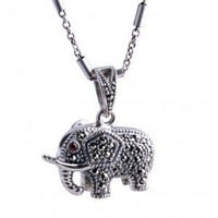 925 Silver Vintage Elephants Pendant Necklace