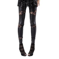 Allegra K Woman Sheer Lace Crochet Splicing Elastic Waist Tights Leggings Black XS