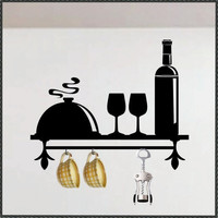 Vinyl Wall Kitchen Decorative Faux Shelf Wine by WallsThatTalk