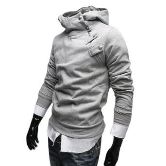 Allegra K Men Fleece Lining Long Sleeves Hooded Coat Gray S