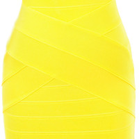 Clothing : Bandage Dresses : 'Leyla' Yellow Strapless Bandage Dress
