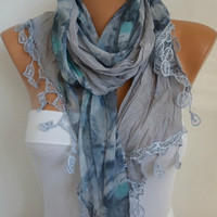 ON SALE - Gray Scarf Women Shawl Scarf -  Cowl Scarf - Bridesmaid Gift- fatwoman