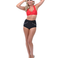 Black High Waisted Rosemary Bikini Bottom - Unique Vintage - Prom dresses, retro dresses, retro swimsuits.
