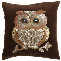 Sequin Owl Pillow
