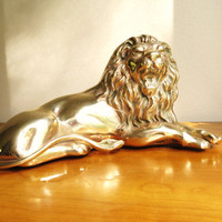 Vintage Brass Lion Statue, Gold Lion Sculpture, Large Lion Figurine, African Animal Figure
