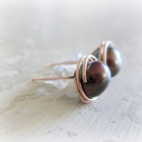 Rose Gold Stud Earrings // Large Peacock Freshwater Pearl Wire Wrapped Posts