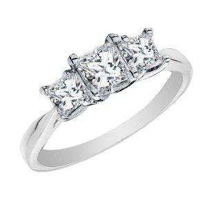 Amazon.com: Princess Cut Diamond Engagement Ring and Three Stone Anniversary Ring 1 Carat (ctw) in 14K White Gold, Size 4.5: Jewelry