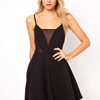 ASOS | ASOS Cami Skater With Mesh Inserts Dress at ASOS