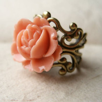Coral Rose Ring by PiggleAndPop