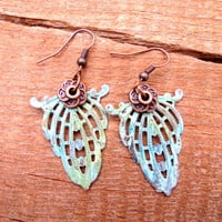Beautiful Copper Stamp Verdigris Copper Earhook Earrings