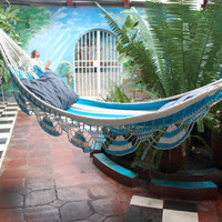 White & Light Blue Hammock Great for Houseware by MasayaMarket