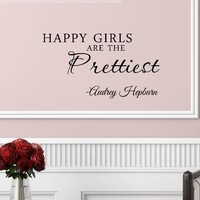 #3 Happy girls are the prettiest. Audrey Hepburn. Vinyl wall art Inspirational quotes and saying home decor decal sticker:Amazon:Home & Kitchen