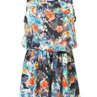 LOVE Black Floral Summer Playsuit