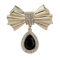 Bow Jewel Drop Brooch