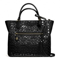Coach :: New Poppy Small Blaire Tote In Sequin Signature c Fabric