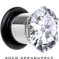 0 Gauge Stainless Steel Cubic Zirconia Plug | Body Candy Body Jewelry