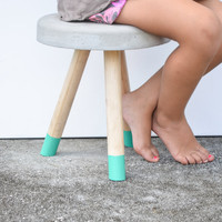 Industrial Modern Concrete stool. Wood legs.  Low stool for kids, milking stool, camping, glamping, outdoors.
