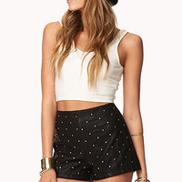 Sleek Studded Faux Leather Shorts