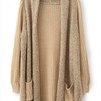 Loose plush knit cardigan sweater L 073007 a