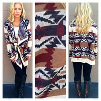 Burgundy & Navy Tribal Knit Caridgan Sweater