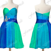 Strapless Sweetheart Chiffon Blue Short Prom Dresses, Blue Evening Gown, Wedding Party Dresses, Formal Gown