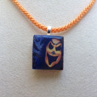 Scrabble Tile Pendant Necklace Halloween Mask
