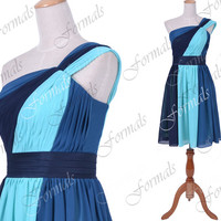 One Shoulder Short Blue Chiffon Cocktail Dresses, Wedding Party Dresses, Short Formal Dresses