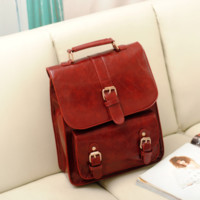 funshop — Retro PU Leather Backpack for School