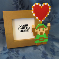 Small Gold Pixel Art Photo Frame - with Link and a Heart container from The Legend of Zelda